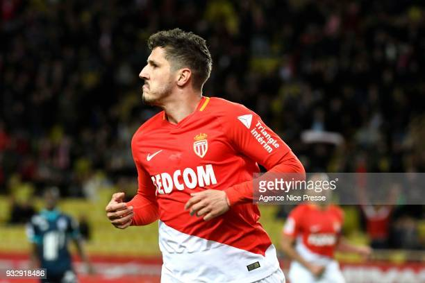 Stevan Jovetic of Monaco celebrates his goal during the Ligue 1 match between AS Monaco and Lille OSC at Stade Louis II on March 16 2018 in Monaco
