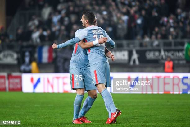 Stevan Jovetic of Monaco celebrates his goal with Kamil glik during the Ligue 1 match between Amiens SC and AS Monaco at Stade de la Licorne on...