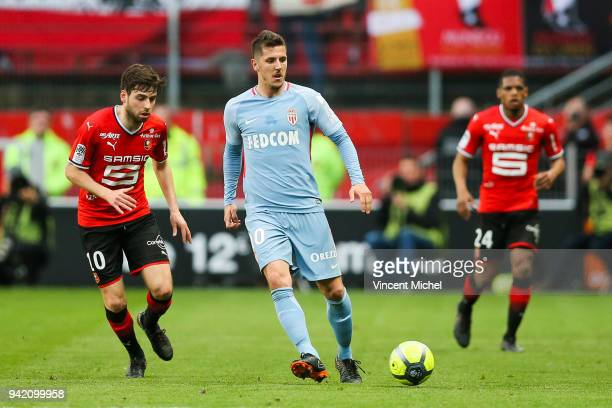 Stevan Jovetic of Monaco during the French Ligue 1 match between Rennes and Monaco at Roazhon Park on April 4 2018 in Rennes France