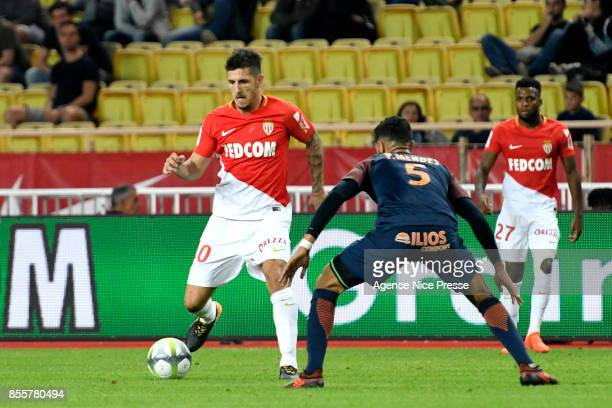 Stevan Jovetic of Monaco during the Ligue 1 match between AS Monaco and Montpellier Herault SC at Stade Louis II on September 29 2017 in Monaco