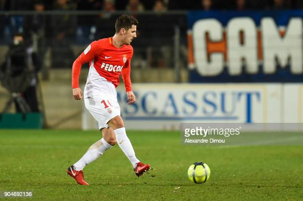 Stevan Jovetic of Monaco during the Ligue 1 match between Montpellier and Monaco at Stade de la Mosson on January 13 2018 in Montpellier France