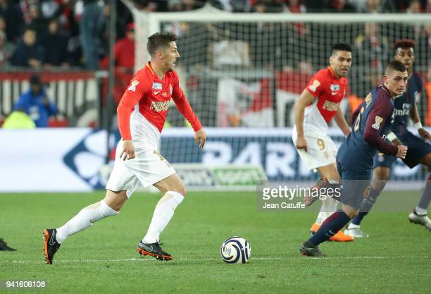 Stevan Jovetic of Monaco Marco Verratti of PSG during the French League Cup final between Paris SaintGermain and AS Monaco on March 31 2018 in...