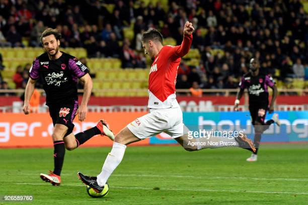 Stevan Jovetic of Monaco scores a goal during the Ligue 1 match between AS Monaco and FC Girondins de Bordeaux at Stade Louis II on March 2 2018 in...