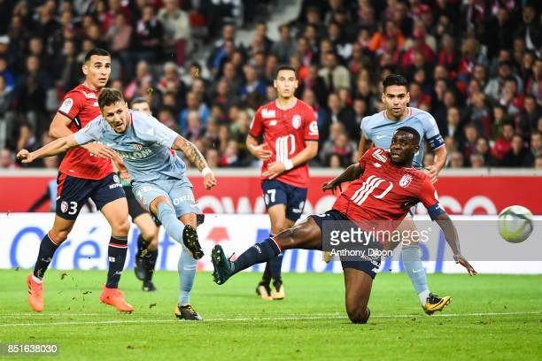 Stevan Jovetic of Monaco scores a goal during the Ligue 1 match between Lille OSC and AS Monaco at Stade Pierre Mauroy on September 22 2017 in Lille