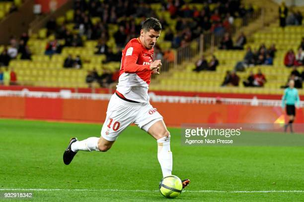 Stevan Jovetic of Monaco scores his side's second goal during the Ligue 1 match between AS Monaco and Lille OSC at Stade Louis II on March 16 2018 in...