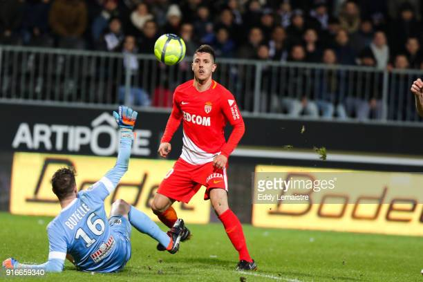 Stevan Jovetic of Monaco scores the second goal during the Ligue 1 match between Angers SCO and AS Monaco at Stade Raymond Kopa on February 10 2018...