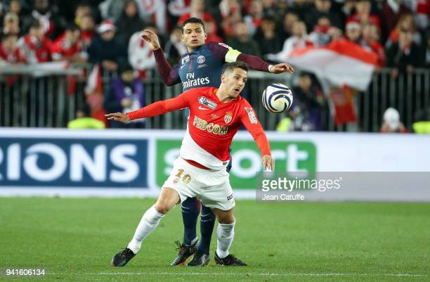 Stevan Jovetic of Monaco Thiago Silva of PSG during the French League Cup final between Paris SaintGermain and AS Monaco on March 31 2018 in Bordeaux...