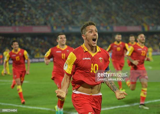Stevan Jovetic of Montenegro celebrates after he scored 11 against Romania during the World Cup 2018 football qualification match between Romania and...