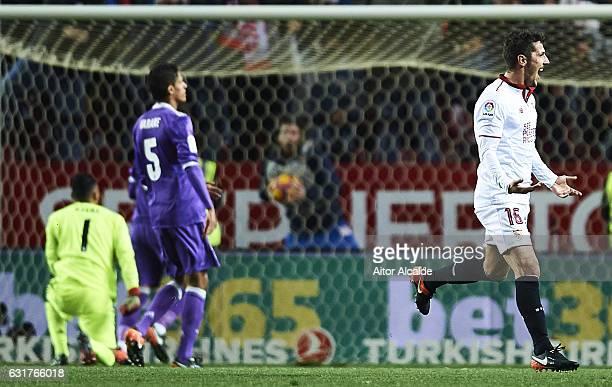 Stevan Jovetic of Sevilla FC celebrates after scoring the second goal for Sevilla FC during the La Liga match between Sevilla FC and Real Madrid CF...