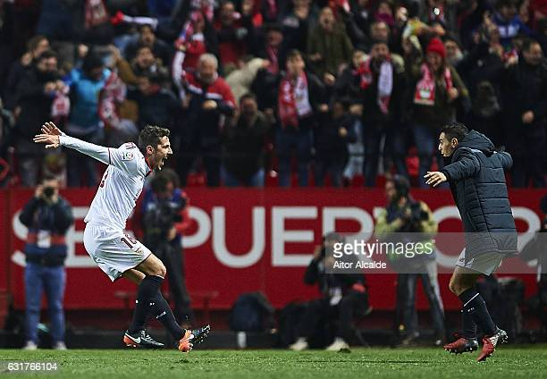Stevan Jovetic of Sevilla FC celebrates after scoring the second goal for Sevilla FC during the La Liga match between Sevilla FC and Real Madrid CF...