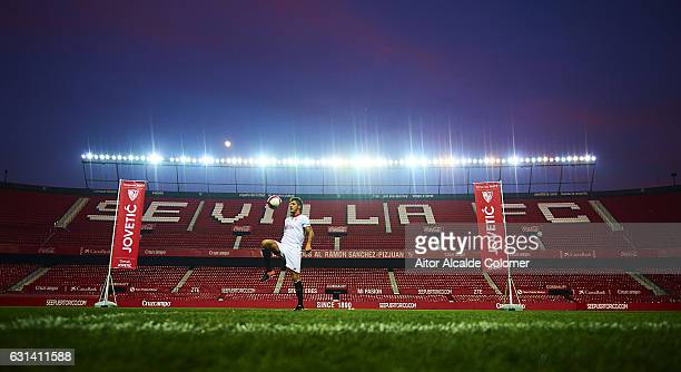Stevan Jovetic of Sevilla FC during his official presentation at the Estadio Ramon Sanchez Pizjuan on January 10 2017 in Seville Spain