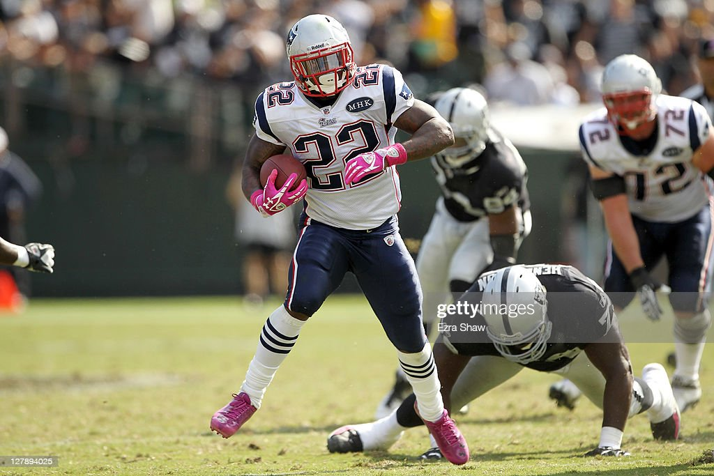 Stevan Ridley #22 of the New England Patriots runs with the ball during their game against the Oakland Raiders at O.co Coliseum on October 2, 2011 in Oakland, California.