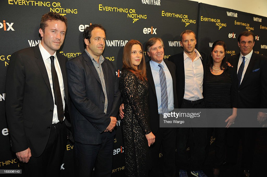Stevan Riley, Simon Chinn, Barbara Broccoli, Mark Greenberg, John Battsek, Hillary Saltzman and Robert Davi attend EPIX Presents the Premiere of 'Everything or Nothing: The Untold Story of 007' at MOMA on October 3, 2012 in New York City.
