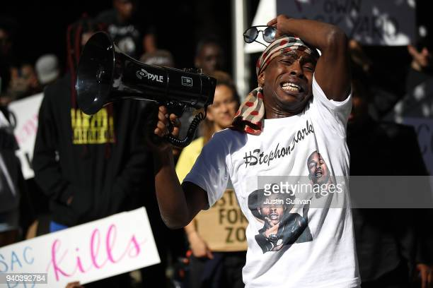 Stevante Clark brother of Stephon Clark speaks during a Black Lives Matter protest outside of office of Sacramento district attorney Anne Schubert on...