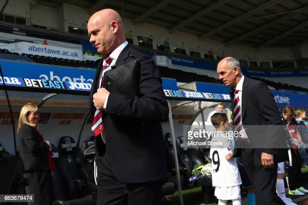 Steve Agnew caretaker manager of Middlesbrough and Joe Jordan assistant manager of Middlesbrough arrive at the stadium prior to the Premier League...
