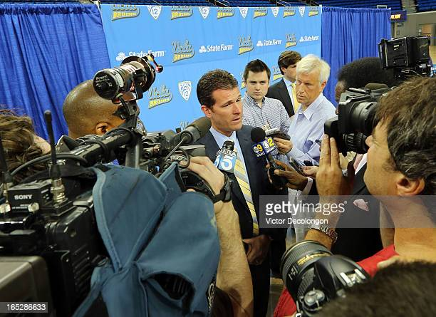 Steve Alford answers questions from local media at a press conference after being introduced as UCLA's new head men's basketball coach on April 2...