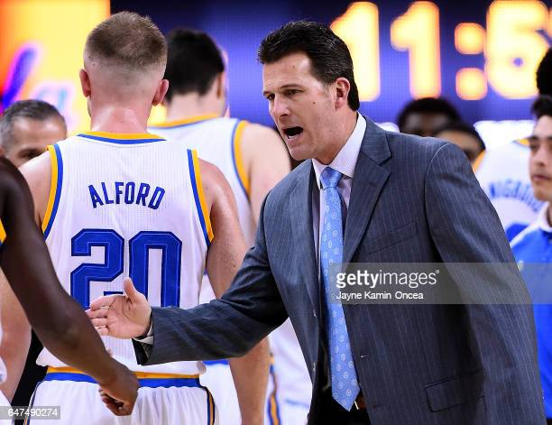 Steve Alford head coach of the UCLA Bruins during a time out in the game against the Washington Huskies at Pauley Pavilion on March 1 2017 in Los...