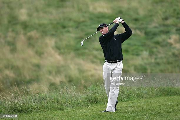 Steve Alker of New Zealand plays a shot off the fairway during the New Zealand Open Pro Am at the Gulf Harbour Country Club on the Whangaparoa...