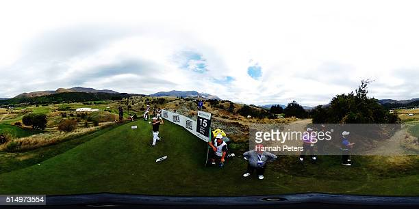 Steve Alker of New Zealand tees off during day three of the 2016 New Zealand Open at The Hills on March 12 2016 in Queenstown New Zealand