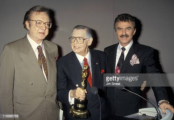 Steve Allen Milton Berle and Burt Reynolds during Milton Berle Receives The Iris Lifetime Acheivement Award From NAPTE January 28 1993 at Moscone...