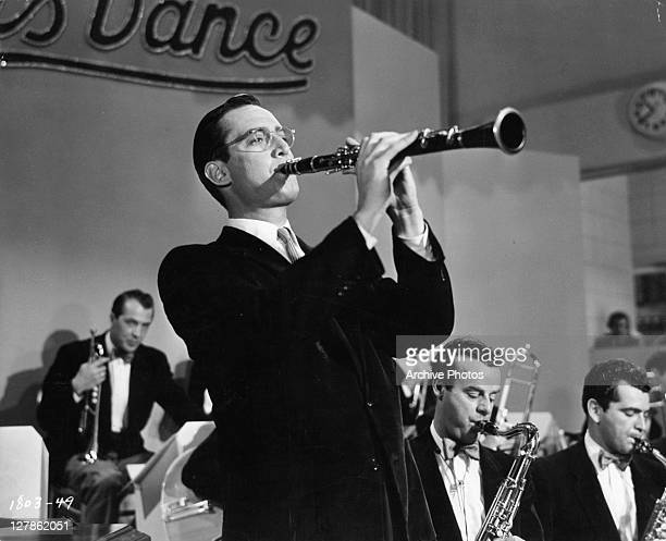 Steve Allen playing the clarinet in a scene from the film 'The Benny Goodman Story' 1956
