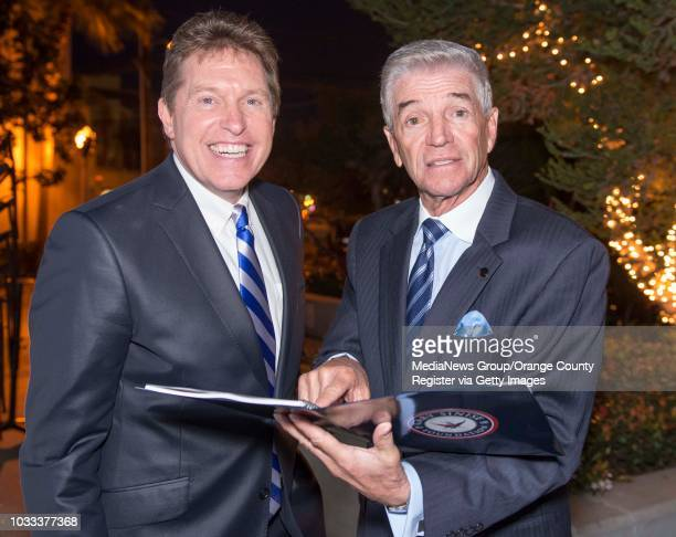 Steve Amerson a singer and recording artist known as 'America's Tenor' and Tom Dreesen a standup comedian attend a benefit for RISE a program under...