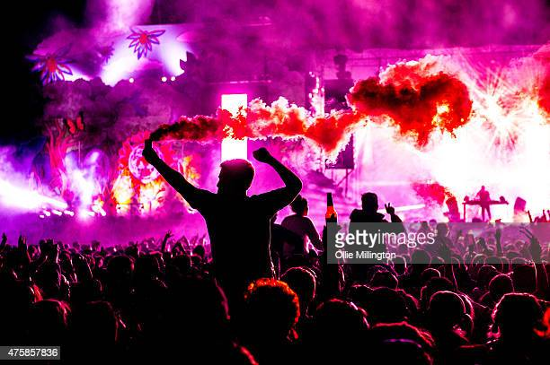 Steve Angello performs headlining the main stage at the end of Day 2 of We Are FSTVL at Damyns Hall Upminster on May 31 2015 in London United Kingdom