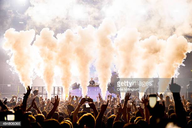 Steve Angello performs on stage during a one off show at Brixton Academy on May 30 2014 in London United Kingdom