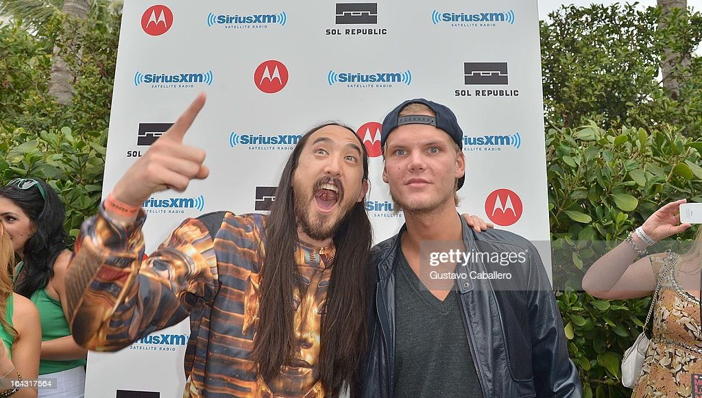 Steve Aoki and Avicii visit the SiriusXM Music Lounge at W Hotel on March 22, 2013 in Miami, Florida.