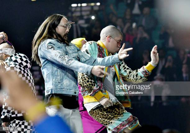 Steve Aoki and Bad Bunny perform onstage during The 18th Annual Latin Grammy Awards at MGM Grand Garden Arena on November 16 2017 in Las Vegas Nevada