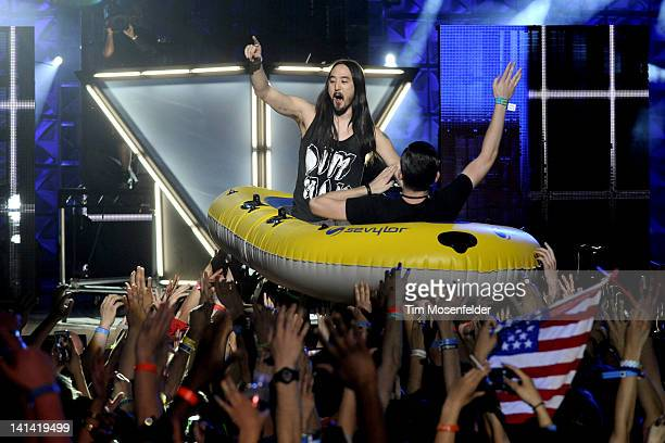 Steve Aoki and Dillon Francis perform as part of the 2012 mtvU Woodie Awards on March 15 2012 in Austin Texas