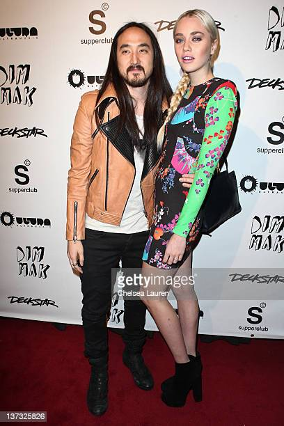 Steve Aoki and girlfriend Tiernan Cowling arrive at Steve Aoki's record release event celebrating 'Wonderland' at SupperClub Los Angeles on January...
