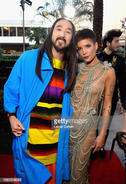 Steve Aoki and Halsey attend the 19th annual Latin GRAMMY Awards at MGM Grand Garden Arena on November 15 2018 in Las Vegas Nevada