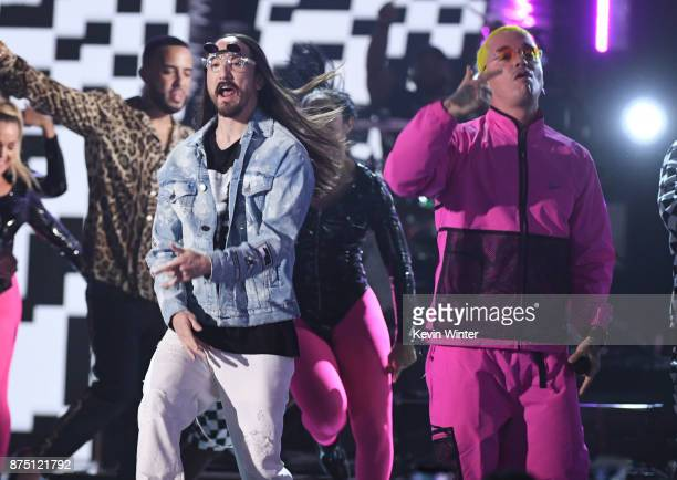 Steve Aoki and J Balvin perform onstage at the 18th Annual Latin Grammy Awards at MGM Grand Garden Arena on November 16 2017 in Las Vegas Nevada