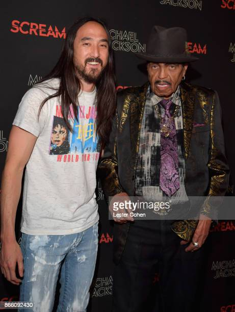 Steve Aoki and Joe Jackson attend Michael Jackson Scream Album Halloween Takeover at TCL Chinese 6 Theatres on October 24 2017 in Hollywood California