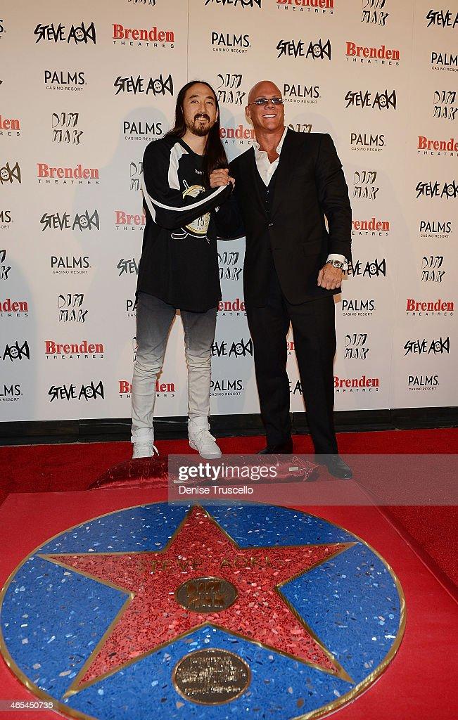 Steve Aoki and Johnny Brenden during produce/DJ Steve Aoki's Brenden 'Celebrity' Star presentation at Palms Casino Resort on March 6, 2015 in Las Vegas, Nevada.