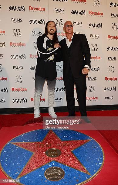 Steve Aoki and Johnny Brenden during produce/DJ Steve Aoki's Brenden Celebrity Star presentation at Palms Casino Resort on March 6 2015 in Las Vegas...