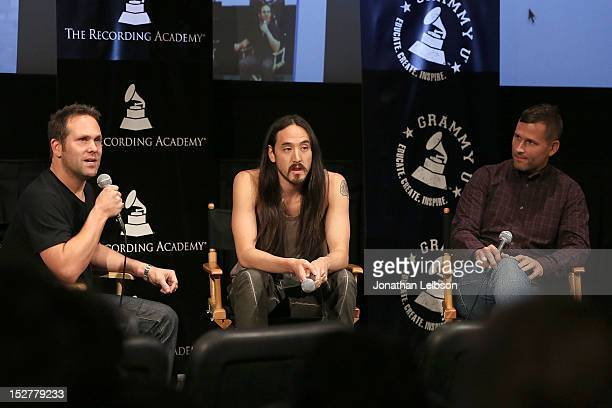 Steve Aoki and Kaskade attend the GRAMMY U Los Angeles Presents Up Close And Personal With Steve Aoki And Kaskade at Los Angeles Film School on...