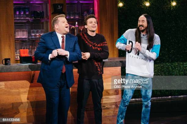 Steve Aoki and Louis Tomlinson chat with James Corden during 'The Late Late Show with James Corden' Monday February 13 2017 On The CBS Television...