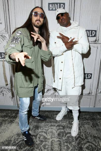 Steve Aoki and Mase attend the Steve Aoki and BUILD Series DIM MAK Collection SS18 'PARADISE FOUND' runway show and 'KOLONY' album release event at...