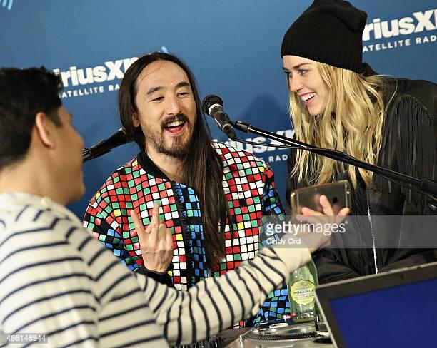 DJ Steve Aoki and model Tiernan Cowling visit the SiriusXM Studios on March 13 2015 in New York City