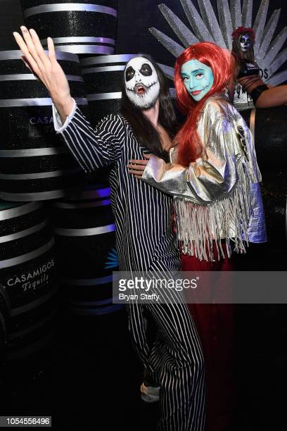 Steve Aoki and Nicole Zimmermann attend Casamigos Halloween party at CATCH Las Vegas at ARIA Resort Casino on October 27 2018 in Las Vegas Nevada