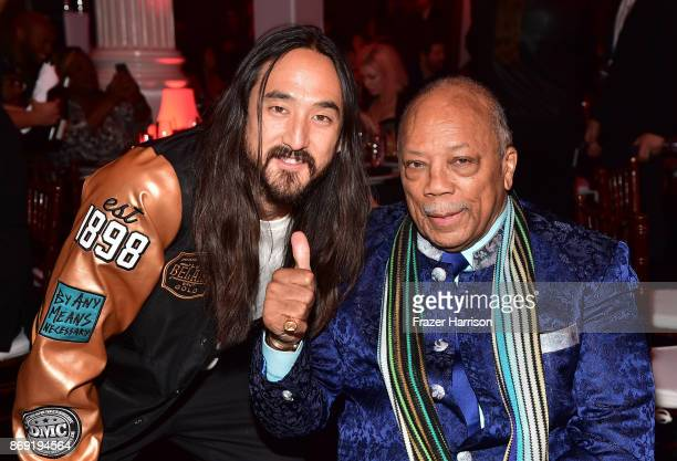 Steve Aoki and Quincy Jones attend Spotify's Inaugural Secret Genius Awards hosted by Lizzo at Vibiana on November 1 2017 in Los Angeles California
