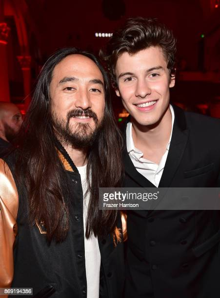 Steve Aoki and Shawn Mendes attend Spotify's Inaugural Secret Genius Awards hosted by Lizzo at Vibiana on November 1 2017 in Los Angeles California