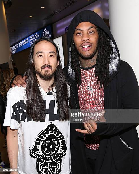 Steve Aoki and Waka Flocka Flame attend a Steve Aoki press conference announcing a new album a headlining performance at Madison Square Garden and a...