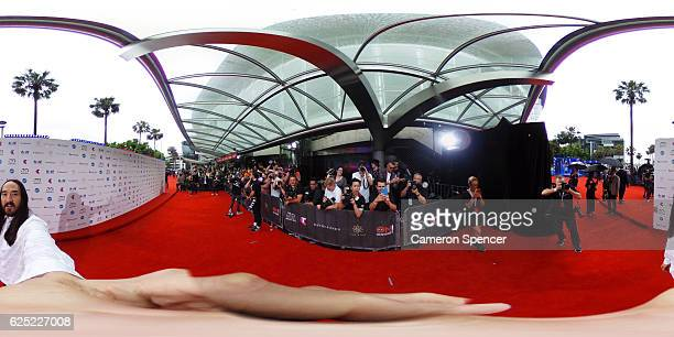 Steve Aoki arrives for the 30th Annual ARIA Awards 2016 at The Star on November 23 2016 in Sydney Australia