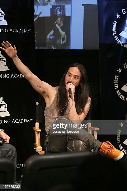 Steve Aoki attends the GRAMMY U Los Angeles Presents Up Close And Personal With Steve Aoki And Kaskade at Los Angeles Film School on September 25...