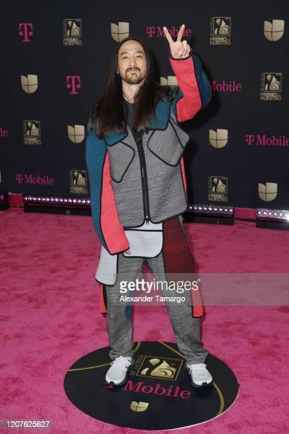 Steve Aoki attends Univision's Premio Lo Nuestro 2020 at AmericanAirlines Arena on February 20 2020 in Miami Florida