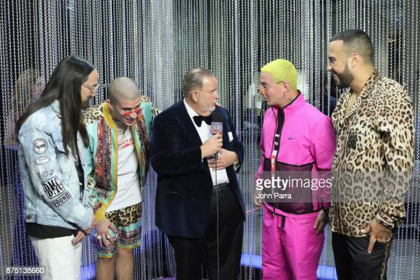 Steve Aoki Bad Bunny Raul De Molina J Balvin and French Montana onstage during The 18th Annual Latin Grammy Awards at MGM Grand Garden Arena on...