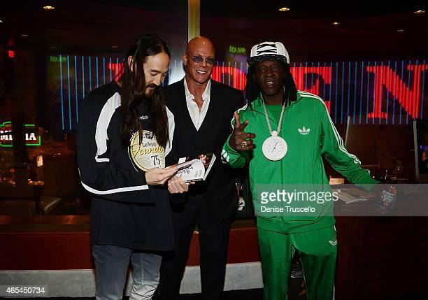 Steve Aoki Flavor Flav and Joe Jackson during produce/DJ Steve Aoki's Brenden Celebrity Star presentation at Palms Casino Resort on March 6 2015 in...